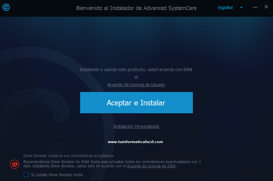Instalar Advanced SystemCare Paso 1
