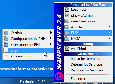 Editar archivo php.ini desde WampServer