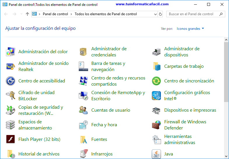 El Panel de Control en Windows 10